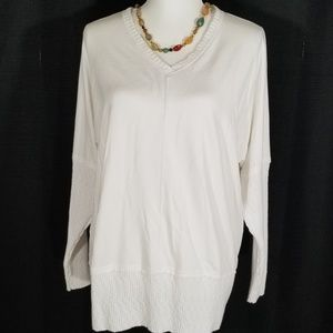 Trouble at the Mill white V neck sweater. Size XL